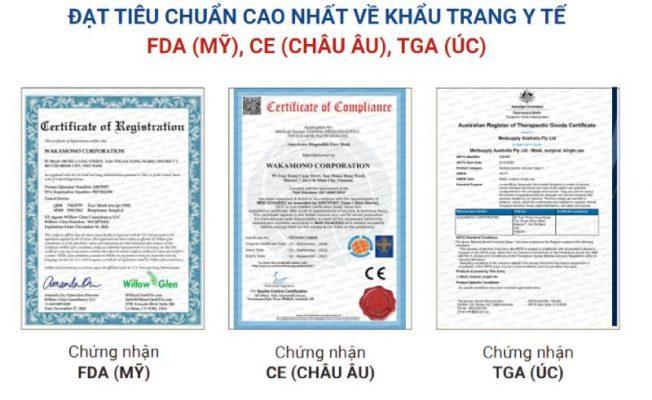 Khẩu trang wakamono đạt tiêu chuẩn FDA (Hoa Kỳ), CE (Châu ÂU) hay TGA (Úc)